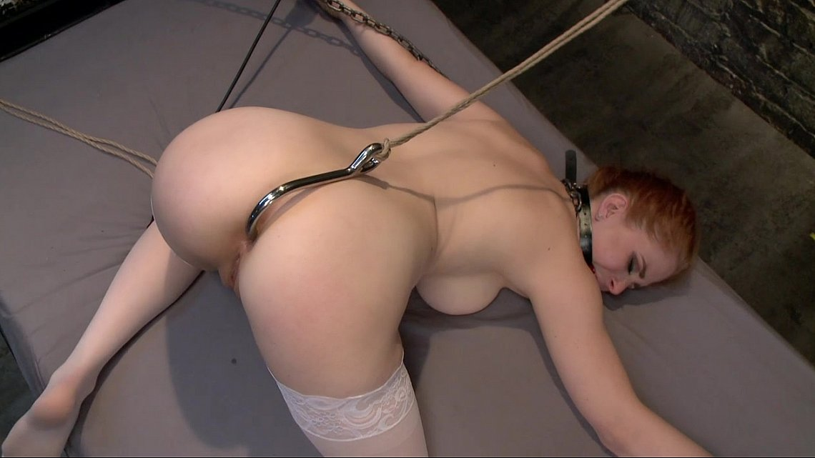 Ring gagged slave slut in hogtied gets deep throat slamming 2